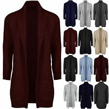 Mens Longline Shawl Long Sleeve Knit Open Cable Chunky Placket Jumper Cardigan