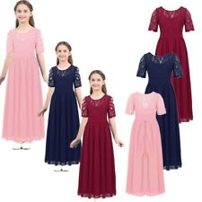 Kids Floral Lace Flower Girl Chiffon Dress Princess Pageant Wedding Formal Gown