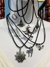 HALLOWEEN SCARY WITCH BAT SPIDER WEB CAT SILVER PENDANTS BLACK CHOKER NECKLACE