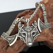 Viking Amulet Nordic rune Odin Raven Wolf Head Pendant Necklace With Gift Bag