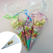 100Pcs Clear Cellophane Cone Bags Party Candy Sweet Cello Candy Birthday Wedding