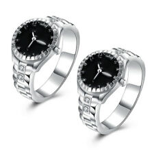 Fashion Women's Jewelry Silver Plated Watch Shaped Zircon Round Finger Rings