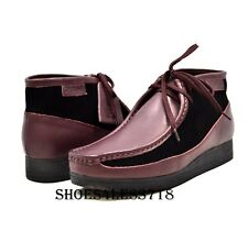 MENS BRITISH WALKERS ORIGINAL EXCLUSIVE TWO TONE PURPLE PLUM LEATHER WALLABEES