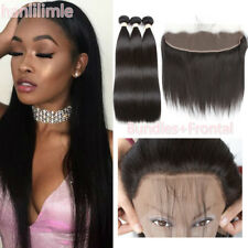 300G 3Bundles 100% Human Straight Hair Weave With Brazilian Lace Frontal Closure