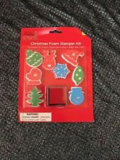 KIDS CHRISTMAS FOAM STAMPER KIT 8 STAMPERS 1 RED INK PAD  FREE SHIPPING USA