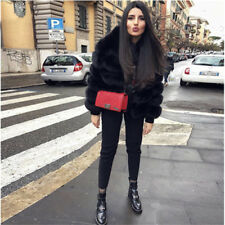 New Women Genuine Whole Skin Natural Real Fox Fur Coat Jacket Outerwear Overcoat