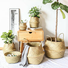 Woven Seagrass Handmade Tote Belly Basket for Storage,Laundry,Plant Pot Cover