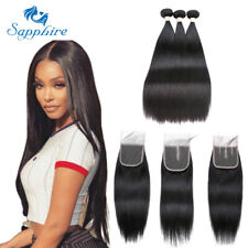 Brazilian Virgin Hair Straight Hair Weave 3 Bundles With 4x4 Lace Front Closure
