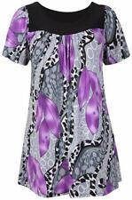 Womens Plus Size Short Sleeves Scoop Neckline Floral Print Smock Tunic Top 10-28