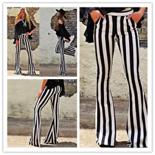 Women High Waist Flare Wide Leg Pants Striped Bell Bottoms Casual Flare Trousers