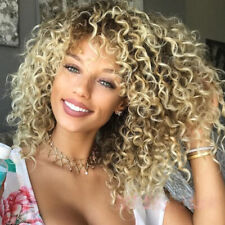Synthetic Afro Hair Ombre Brown Blonde Curly Wigs for Women Short Curly Bob Wig