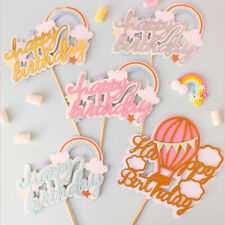 Favors Rainbow Cupcake Toppers Birthday Party Decoration Cake Decor Picks