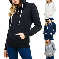 Womens Sports Pullover Soft Fleece Zip-Up Pullover Hooded Casual Sweatshirt BY