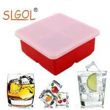 4 Square Ice Cube Tray Mold With Lid Durable Silicone Food Freshness Storage Box