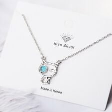 Cute Cat 925 Sterling Silver Pendant Necklace Women Fashion Jewelry Birthday