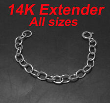 Oval Extender Chain Necklace w/ Clasp 14K White Gold