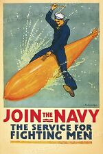 Join the Navy! The Service for Fighting Men! WW1 Recruting Poster - 16x24