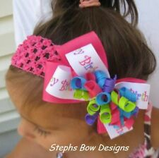 HAPPY BIRTHDAY BRIGHT COLORS LAYERED KORKER HAIR BOW HEADBAND or CLIP CUTE4 BDAY