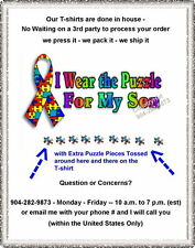 T-shirt - AUTISM Awareness Ribbon - I WEAR THE PUZZLE son daughter nephew cousin