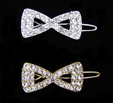 CRYSTAL BOW RIBBON BARRETTE CLIP CLEAR BABY GIRL SILVER TONE GOLD TONE