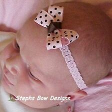 SOFT PINK & BROWN DAINTY HAIR BOW LACE HEADBAND INFANT