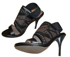 Miss Sixty SADE Black Leather Embellished Shoes Heels **