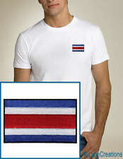 Costa Rica Flag EMBROIDERED White T-Shirt