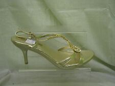 Ladies Anne Michelle Diamante Heeled Shoes In Gold 'L3349'