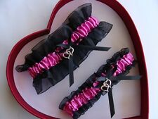 *FREE SH Fuchsia Black Wedding Garter 30 Charms to Select - GetTheGoodStuff