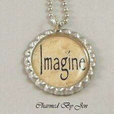 """IMAGINE Inspirational Word Saying Bottle Cap Charm Altered Art NECKLACE 24"""" NEW"""