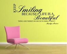 Marylin Monroe Keep Smiling  Wall Art Sticker Mural Decal  quote         rc-28