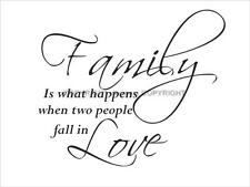 WALL QUOTE **FAMILY IS WHAT HAPPENS WHEN..... ** DECAL VINYL STICKER
