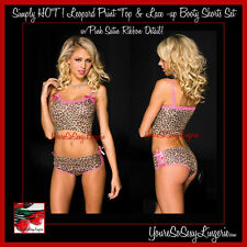 SeXy Animal LEOPARD PRINT Lace-up BOOTY SHORTS & Top w/PINK SATIN Detail Panties