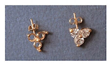 Two Round 14kt White or Yellow Gold Triple Accented Earring Castings (1.6-5.5mm)