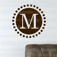 PERSONALIZED CUSTOM CIRCLE INITIAL MONOGRAM Lettering Vinyl Wall Decal Sticker