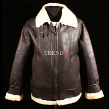 Men's B3 Brown Real Shearling Sheepskin World War 2 Bomber Leather Flying Jacket