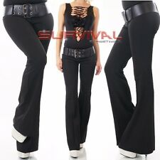 NEW SEXY SIZE 6 8 10 12 14 WOMENS HIPSTER DESIGNER BOOTLEG PANTS BLACK