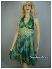 Green Backless Faux Silk Taffeta Chiffon Halter Dress S M L