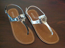 "GUESS ~ BLACK or SILVER  T-STRAP  ""G"" LOGO SANDALS ~ Choice of Sizes + Colors!!"