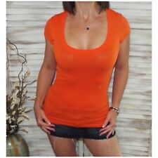 Sexy Low Cut Scoop Neck Cleavage Baby Slimming Basic Tee Shirt Orange S/M/L/XL