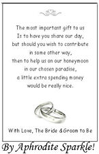 50 Wedding Honeymoon Money request Poem Cards -  Rings Design for invitations