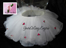 CHILDS TUTU HAND DECORATED Pink ROSES Fluffy Layered Tulle KIDS Petticoat