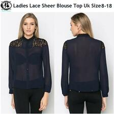Ladies Lace Sheer Blouse Size 8-18 Collar Shirt Top Button up Casual Smart Tunic