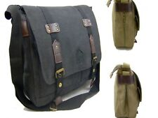 NEW LARGE STRONG WOVEN CANVAS LEATHER TRIM MESSENGER MAN BAG BLACK/GREEN