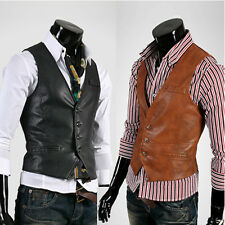 M3012 New Stylish Slim Fit Mens Faux Leather Vests Jackets Coats 2 Colors 3 Size