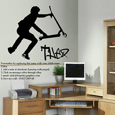 LARGE PERSONALISED STUNT SCOOTER BEDROOM WALL TRANSFER ART STICKER STENCIL DECAL