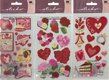 STICKO  Assorted STICKERS Choice Scrapbooking ROSES - HEARTS & VALENTINE'S DAY