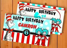 The Cat In The Hat Thing 1 & 2 -Personalized- Vinyl Birthday Banner Decoration