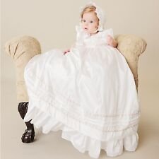 Jessa Silk Christening Baby Girl Baptism Floral Trim Pearl White Blessing Gown