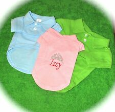 New Personalized Dog Clothes Short Sleeve Polo  w/Customized Embroidery!